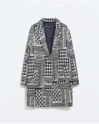 Zara Houndstooth Wool Coat - Lyst