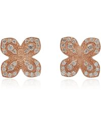 Jamie Wolf - Rose Gold Pave Diamond Scallop Edge Flower Stud Earrings - Lyst