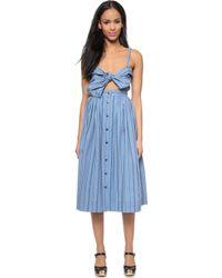 Jill Stuart Striped Tie Front Dress - Blue - Lyst