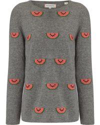 Chinti & Parker Watermelon Print Sweater gray - Lyst