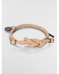 Bottega Veneta Intrecciato Knotted Leather Bracelet beige - Lyst