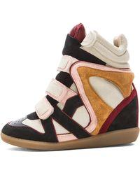 Isabel Marant Wila Over Basket Calfskin Velvet Leather Sneakers - Lyst