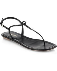 Prada Leather Thong Sandals - Lyst