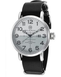 Ben Minkoff - Airstream Black Genuine Leather White And Grey Dial Ss - Lyst