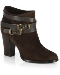 Jimmy Choo Melba Suede Buckle Ankle Boots - Lyst