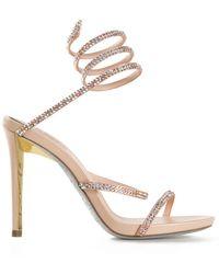 Rene Caovilla Embellished Spring Coil Sandals - Lyst