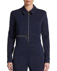 Stella McCartney Cropped Cotton Silk Jacket - Lyst
