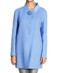 Ermanno Scervino Coat Double Wool Standing Collar with Jewel Buttons - Lyst
