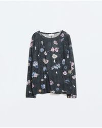 Zara T-shirt with Front Pocket - Lyst