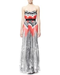 Alexander McQueen Feather-print Strapless Chiffon Gown - Lyst