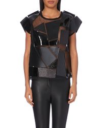 Junya Watanabe Faux Leather-Panel Mesh Top - Lyst