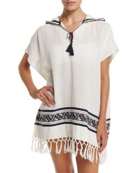 Tory Burch   Embroidered Beach Poncho Coverup With Hood   Lyst