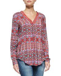 Tolani Marissa Silk Printed Long Sleeve Tunic - Lyst
