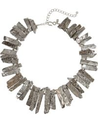 Kenneth Jay Lane Gray Rhodiumplated Necklace - Lyst
