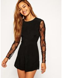 Asos Romper With Embellished Sleeves - Lyst