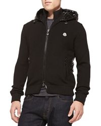 Moncler Wool Knit Jacket with Quilted Nylon Back - Lyst