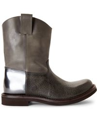 Brunello Cucinelli Olive Western Boots - Lyst