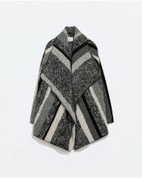 Zara Striped Poncho - Lyst