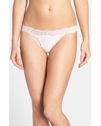 DKNY 'Downtown' Lace Trim Cotton G-String Thong - Lyst