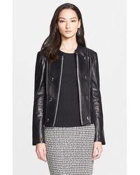 St. John Nappa Leather Crop Jacket - Lyst