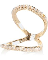 River Island Gold Tone Pearl Knuckle Ring - Lyst