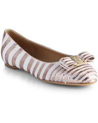 Ferragamo Varina Sequin Ballet Flats - Lyst