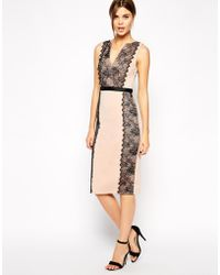 Asos Lace Paneled Bodyconscious Dress - Lyst