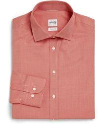 Armani Extra Slim-Fit Check Dress Shirt - Lyst