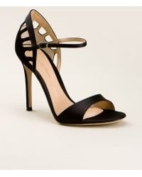 Gianvito Rossi Black Satin And Suede Sandals - Lyst