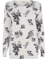 Oasis White Rose Jumper - Lyst