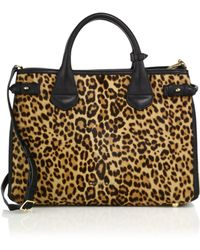 Burberry | Banner Medium Leopard-print Calf Hair & Textured Leather Satchel | Lyst