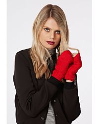 Missguided Barbs Cable Knit Fingerless Gloves Red - Lyst