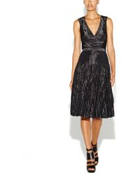 Nicole Miller Metallic Taffeta Dress - Lyst
