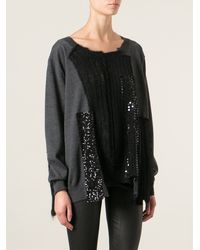 Junya Watanabe Layered Textures Sequined Sweater - Lyst