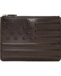 Givenchy Black Leather American Flag Embossed Clutch - Lyst