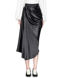 Ellery 'Ussr' Silk Charmeuse Drape Midi Skirt black - Lyst
