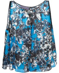 Emanuel Ungaro Abstract Flower Print Flared Top - Lyst