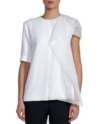 Fendi Short-sleeve Cady Top with Draped Organza - Lyst