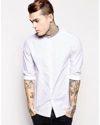 Asos Smart Shirt In Long Sleeve With Contrast Print Collar - Lyst