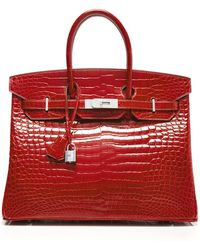 Heritage Auctions Special Collection Diamond Encrusted Hermes 35Cm Braise Shiny Porosus Birkin - Lyst