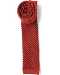 Mr Start Orange Knitted Silk Tie - Lyst