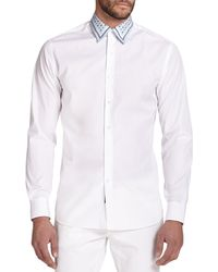 Ferragamo Tailored-Fit Solid Sportshirt white - Lyst