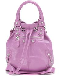 468357a3161a Balenciaga - Giant Mini Pompon Leather Shoulder Bag - Lyst