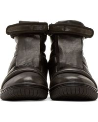 Christian Peau Black Padded Leather High_Top Sneakers - Lyst