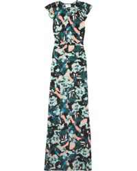 Erdem Rylie Floral-Print Washed-Silk Gown - Lyst