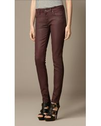 Burberry Skinny Fit Low-rise Wax Coated Jeans - Lyst