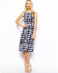 Asos Sleeveless Midi Dress in Check - Lyst