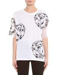 Alexander McQueen Cherry-Blossom Embroidered Cotton T-Shirt - Lyst