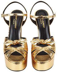 Saint Laurent - Candy 80 Bow Platform Sandals - Lyst