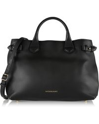 Burberry Medium Leather and Checked Canvas Tote - Lyst